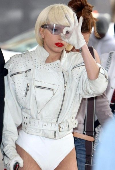 17774b266ec Lady Gaga in White Motorcycle Leather, Motorcycle Jacket, Leather Jackets,  Leather Pants,