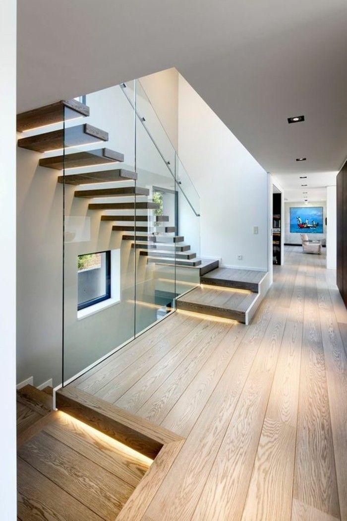 Glasgeländer Treppe Parketboden Und Glaswand