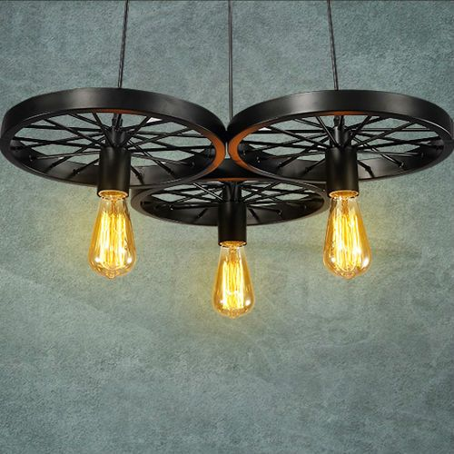 dorp retro hanglamp creative wiel model lassen metalen verf proces