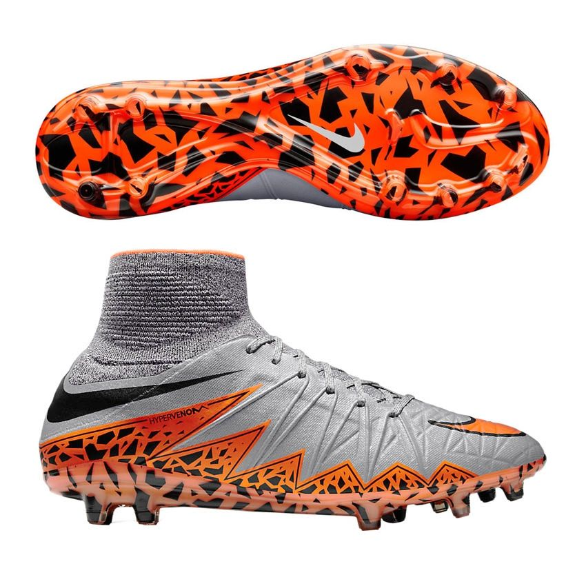 FootballNike Hypervenom Phantom II FGWolf Grey Black Total Orange