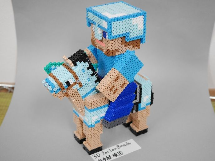 3dperlerbeads アイロンビーズ Minecraft マイクラ 馬に乗った