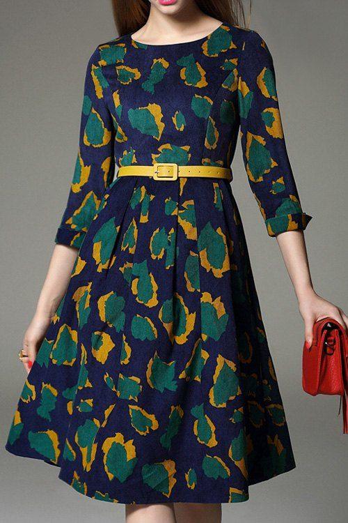 Print Jewel Neck 3/4 Sleeve Midi Dress