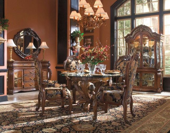 Oppulente Luxury Formal Round Dining Room Set With Glass Top Table