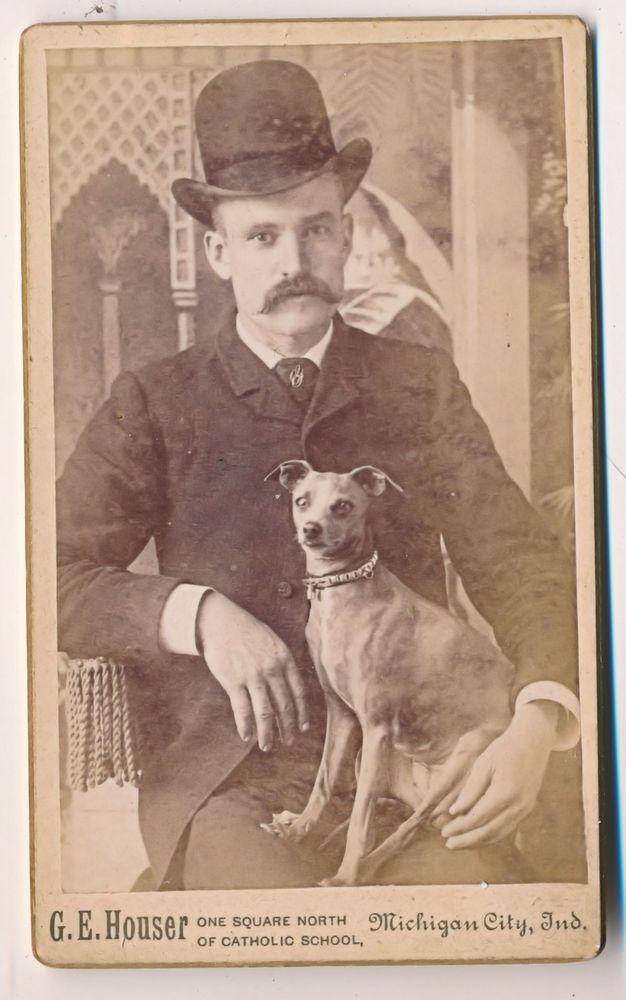 C1860s Cdv Man Chihuahua Dog Bowler Hat Michigan City Indiana Houser Photo Vintage Dog Retro Dog Dog Photos