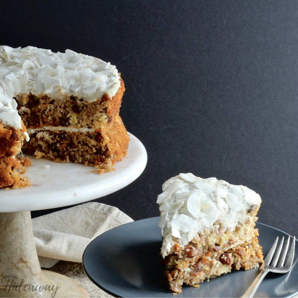 Gluten free carrot cake with pineapple and almond flour