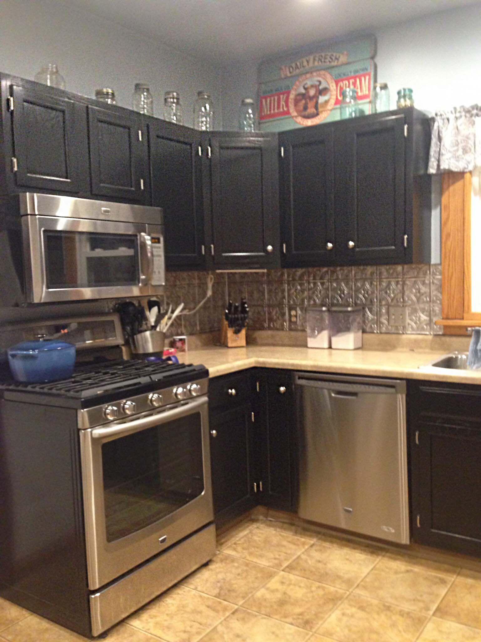 Kitchen Cabinets In Black Gel Stain