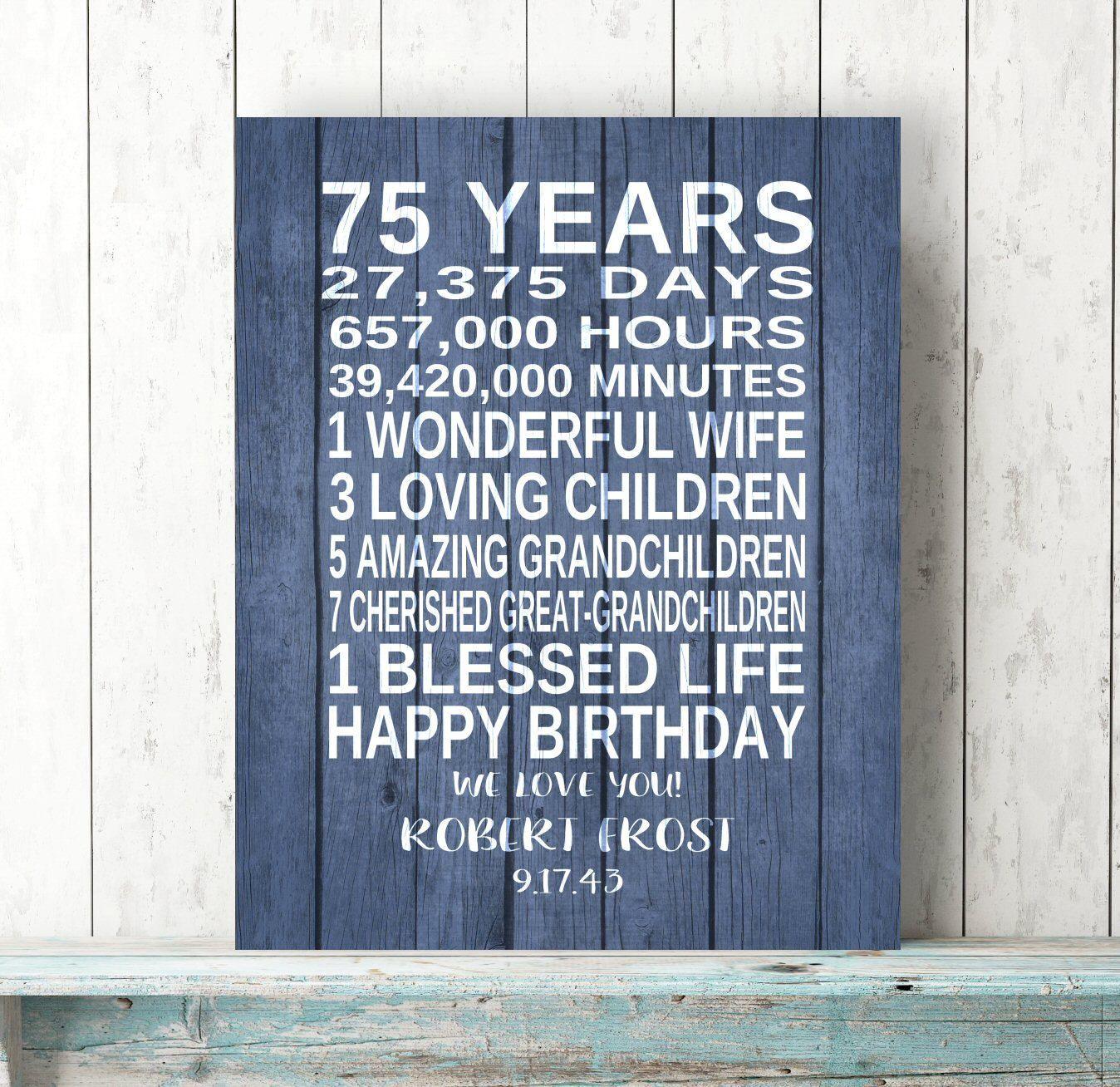 75th BIRTHDAY GIFT Personalized Birthday Art Print Canvas Dad Birthday Grandpa Birthday Rustic Art Gift Keepsake Custom 75 Years Sign