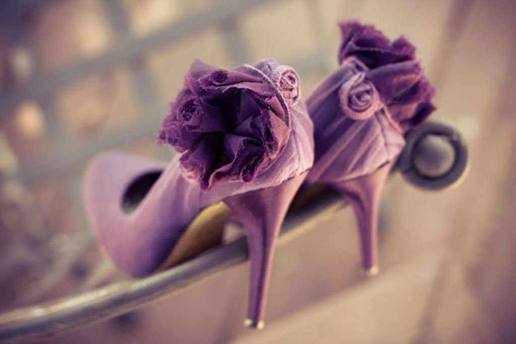 Romantic purple wedding shoes