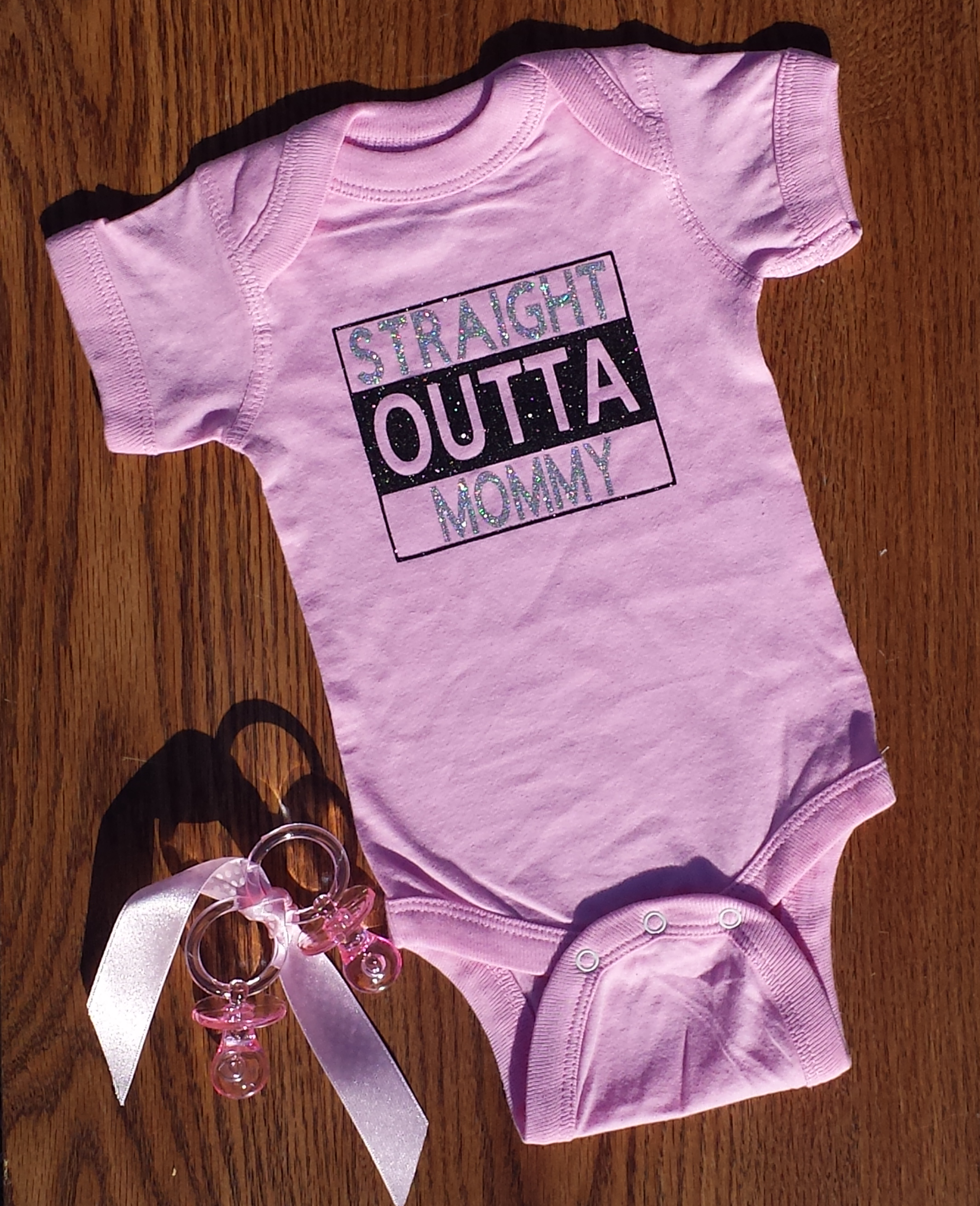 "Baby girl ""STRAIGHT OUTTA MOMMY"" esie pink newborn to 18 months"