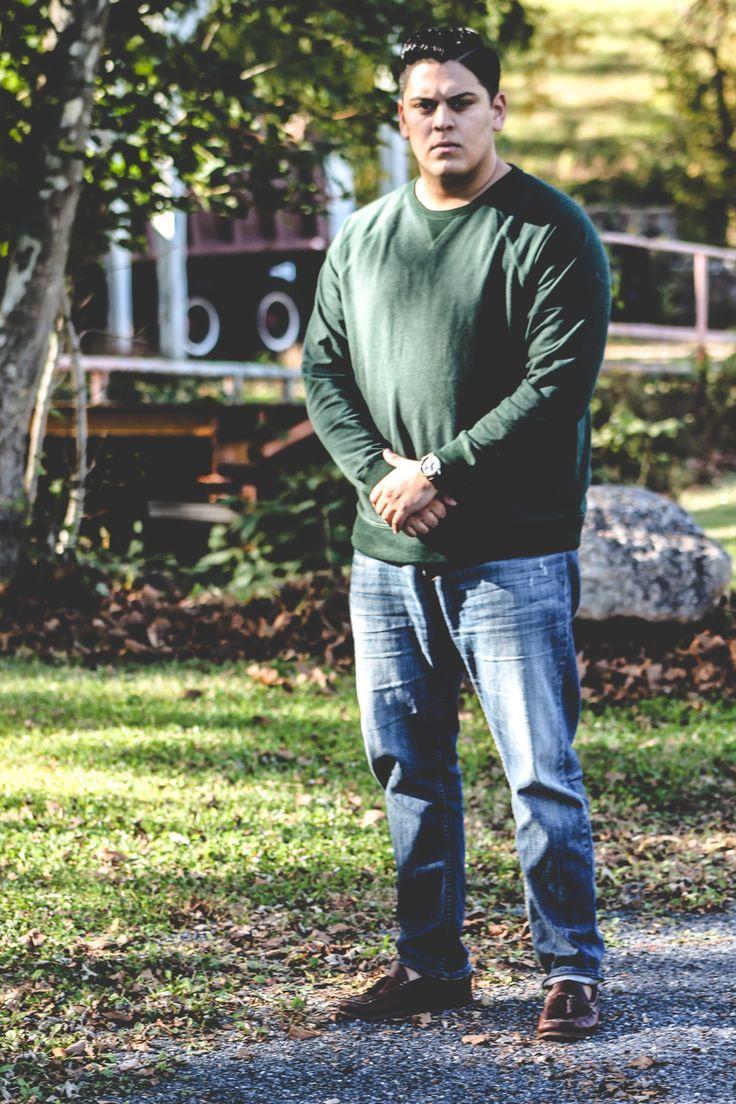 Men's Dark Green Crew-neck Sweater, Blue Jeans, Dark Brown Leather ...