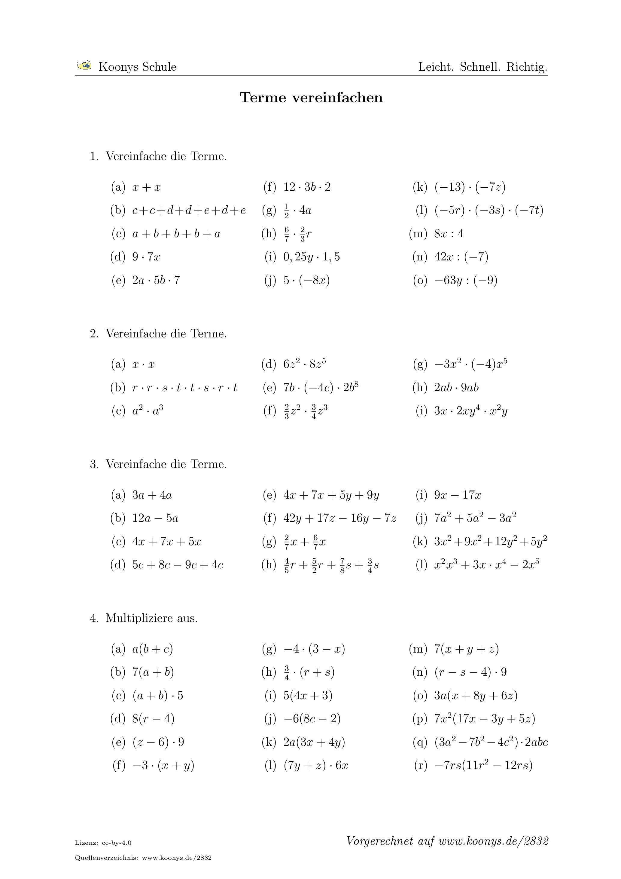 Terme vereinfachen | Arbeitsblatt #2832 | Schule | Pinterest ...