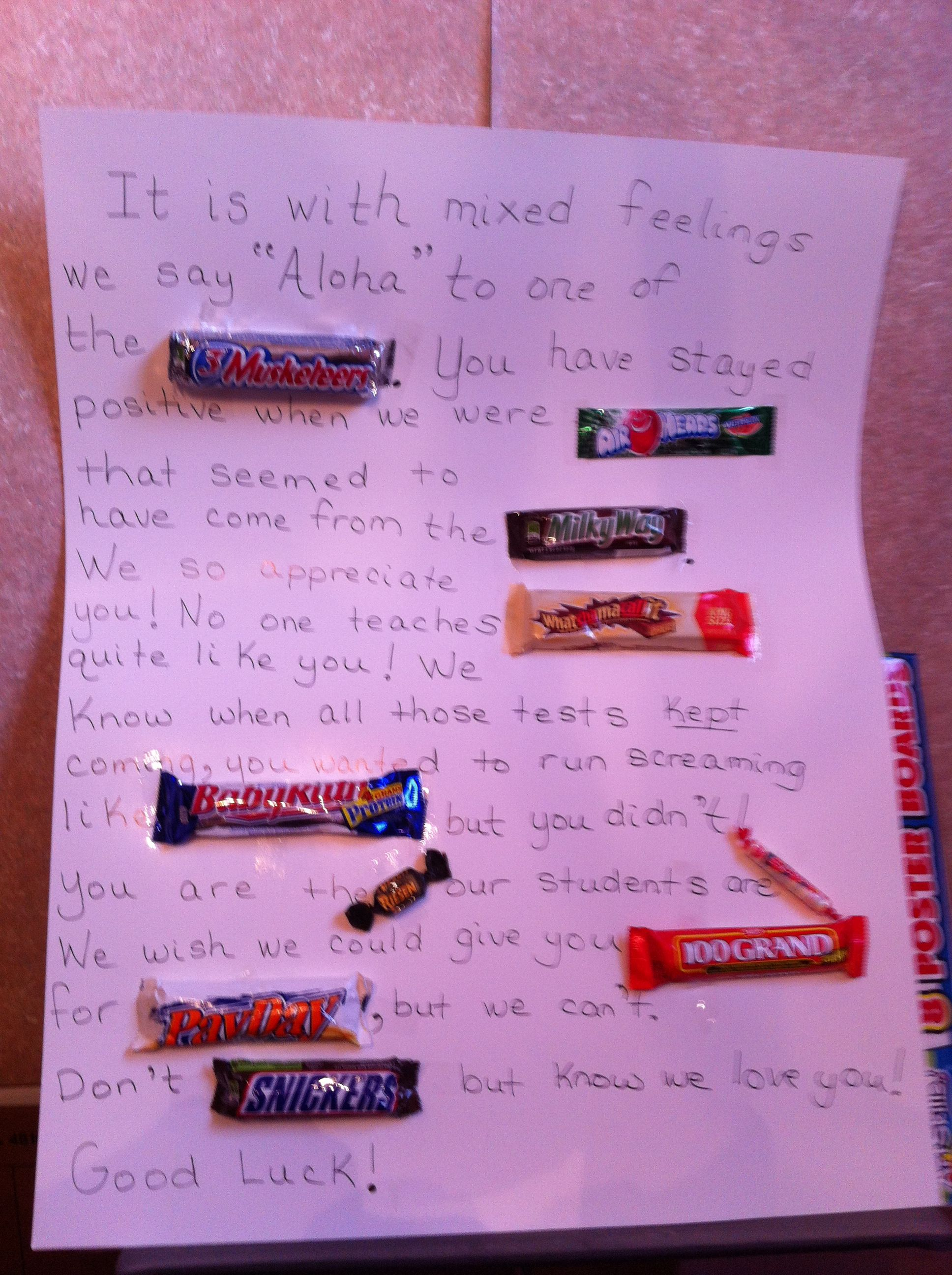 Candy Goodbye Letter To A Teacher Colleague