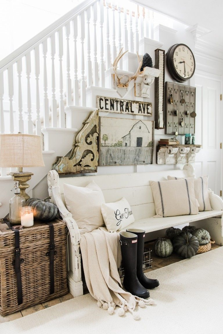 welcoming fall entryway rustic farmhouse entry farmhouse style
