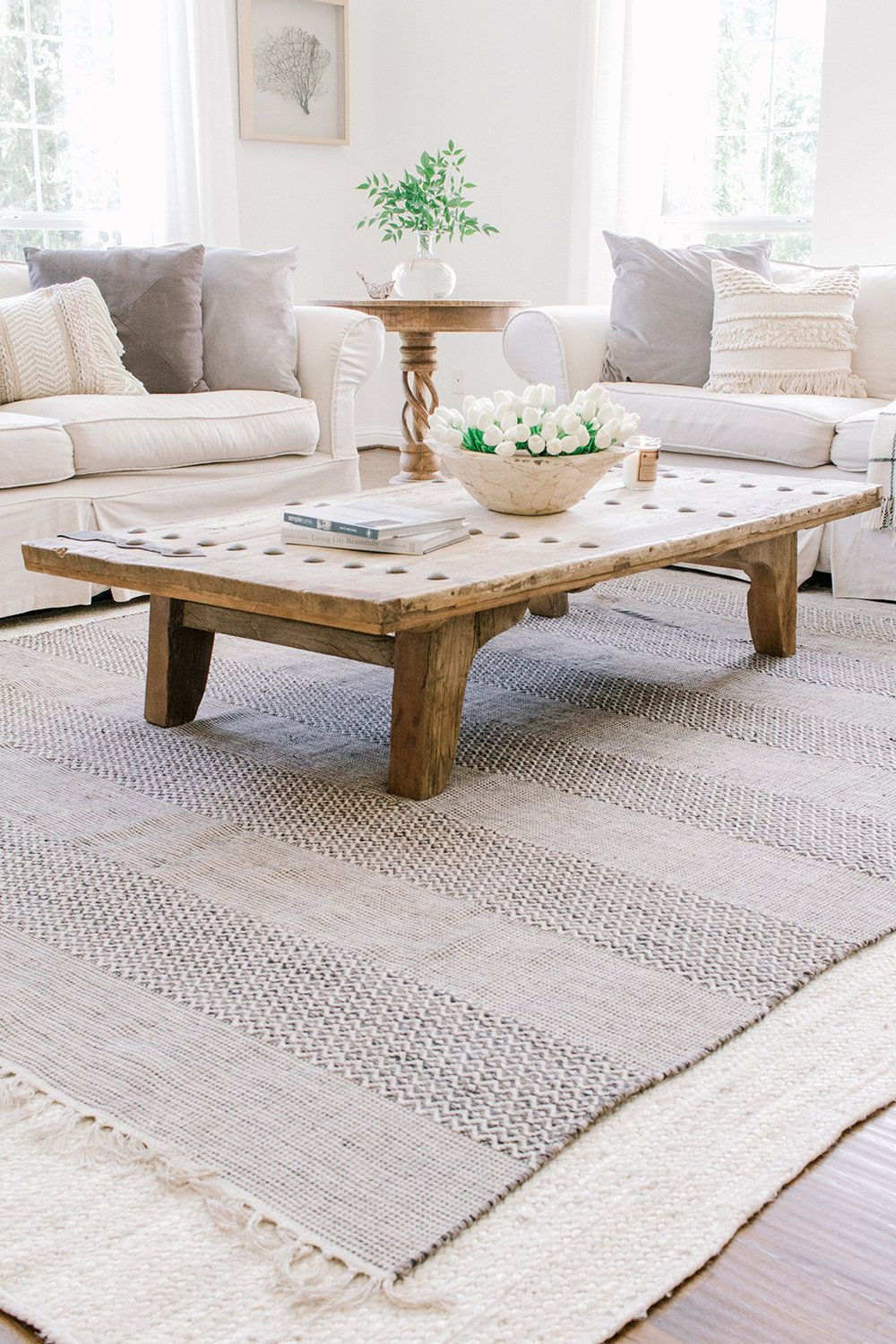 Coastal Farmhouse Living Room Reveal Farmhouse Living Farmhouse Rugs Living Room Trending Decor Rugs In Living Room