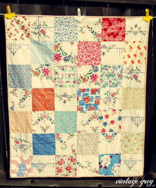 Quilt Using Vintage Embroidery Vintage Cross Stitches Quilts Vintage Embroidery
