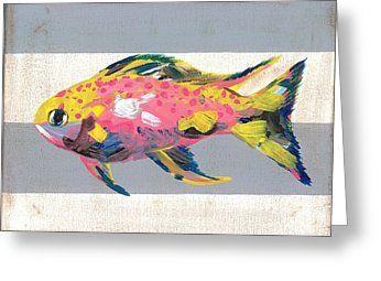 Marine life no 2 greeting card for sale by jade kozlowski goetz art card greetingcard birthday painting artforsale holiday marine nautical stripes fish m4hsunfo