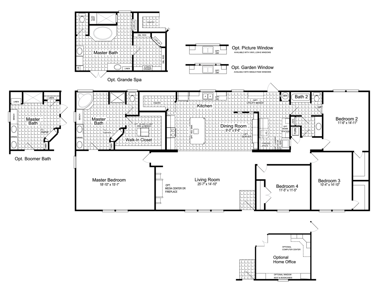 Floor Plan The Canyon Bay Ii Hht476a5 Or Ft32764c Manufactured Homes Floor Plans Mobile Home Floor Plans Modular Home Plans