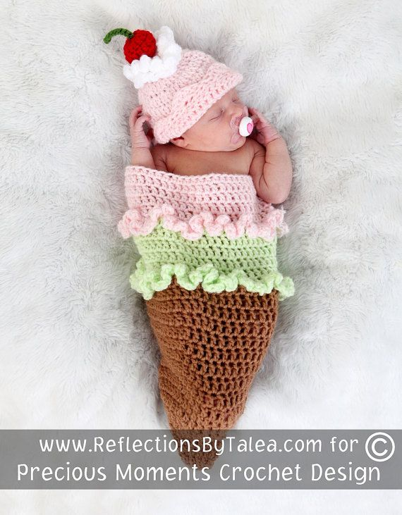 Crochet Newborn Girl Cocoon, ICE CREAM CONE Cocoon and Hat Set, Baby ...