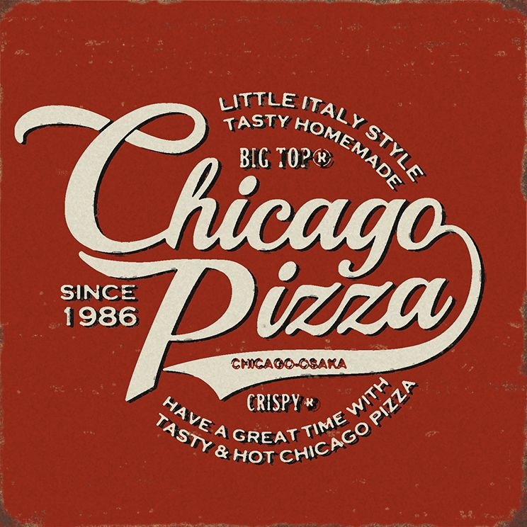 Vintage style logotype sign for Chicago Pizza  Company No.1