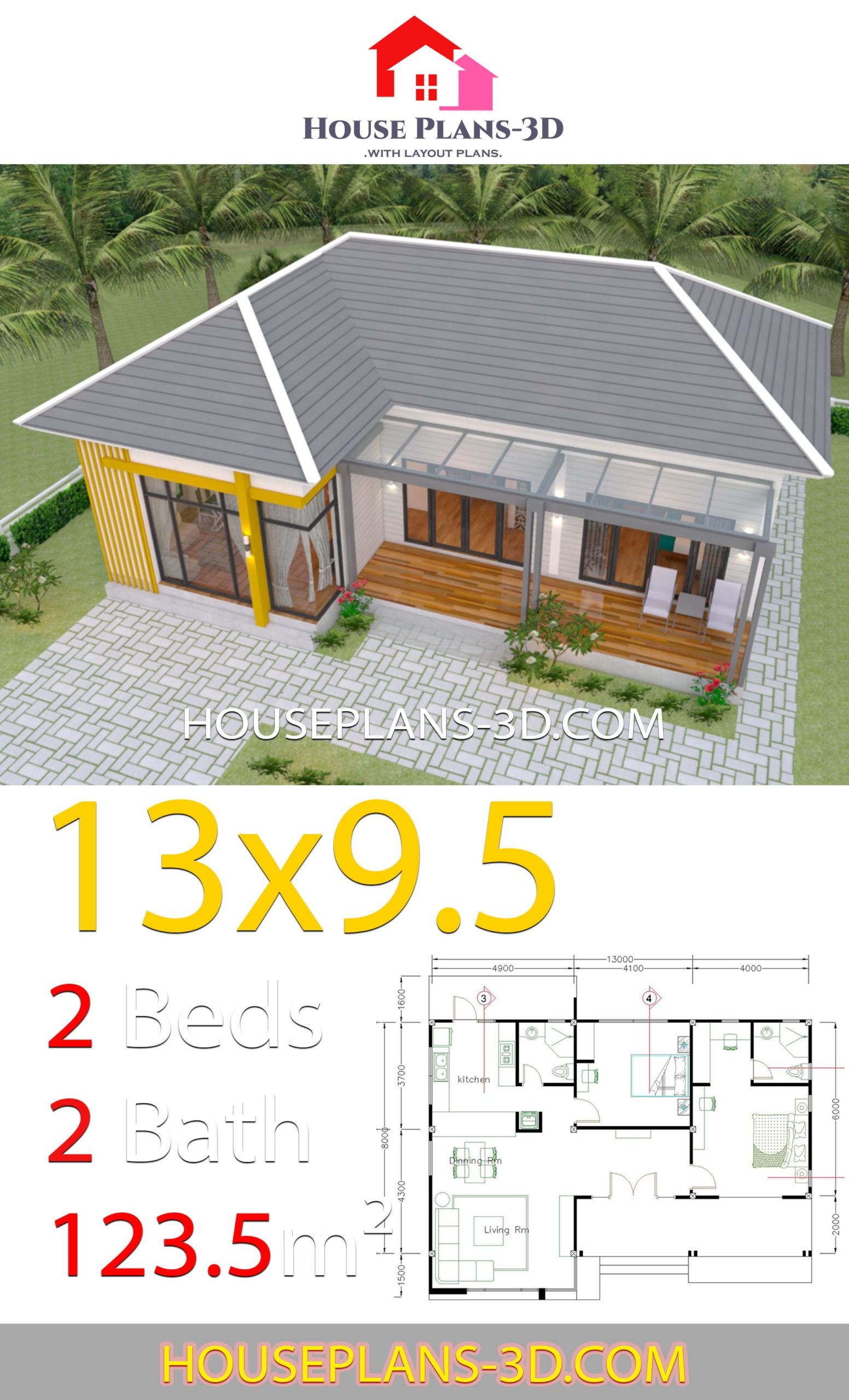 House Plans 13x9 5 With 2 Bedrooms Hip Roof House Plans 3d House Plans House Roof House Layout Plans