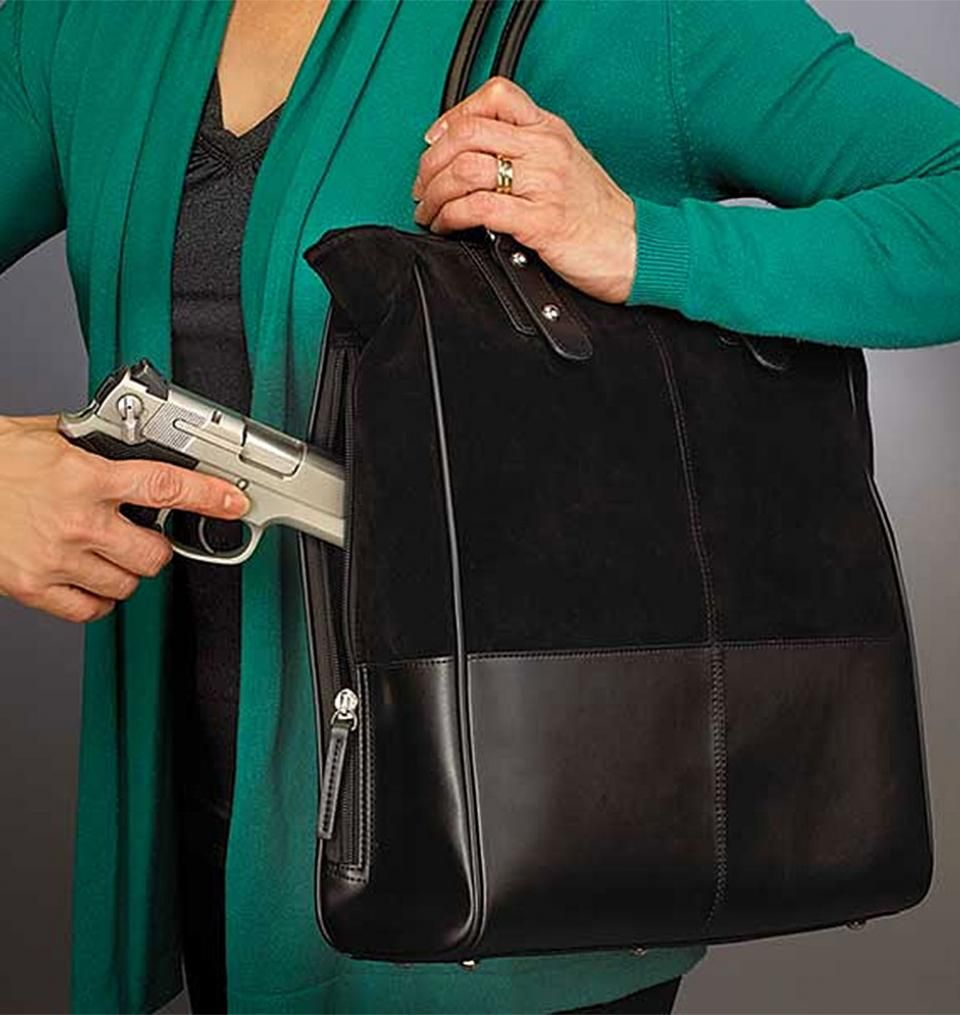 Concealed Carry Purse - Large Tote Debossed Sueded Leather | GunHandbags.com