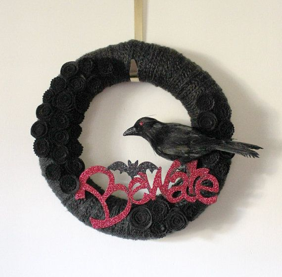 Raven Wreath Black Crow Wreath Halloween by TheBakersDaughter, $45.00
