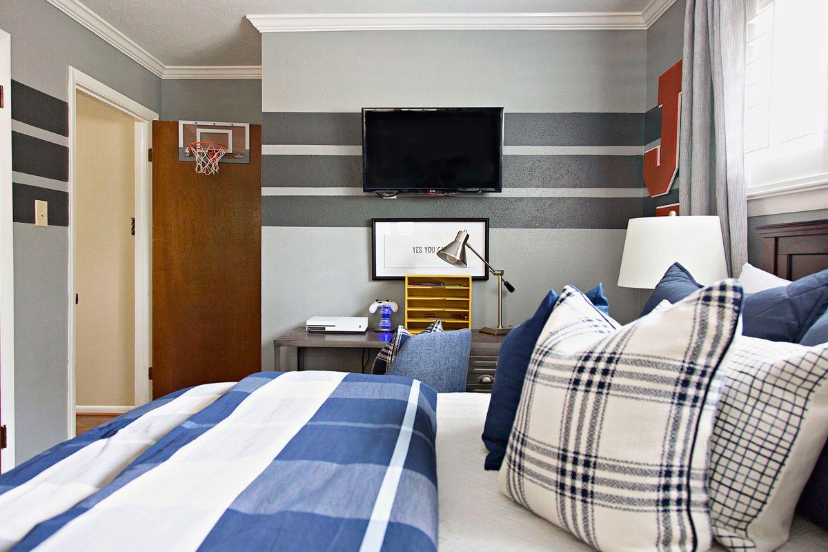 Varsity sports inspired tween boy bedroom tween bedrooms and