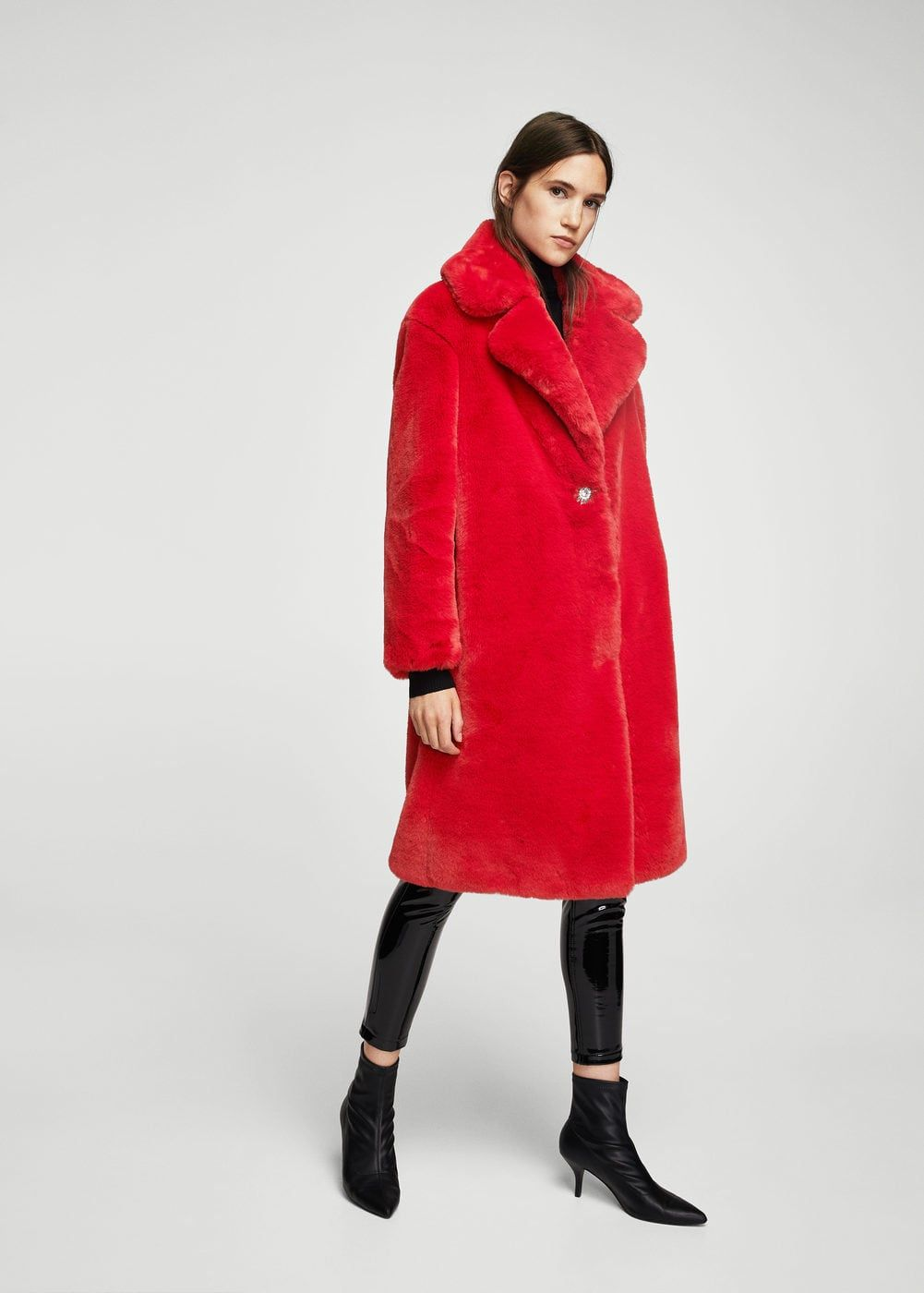 Шуба с лацканами   MANGO МАНГО Red Fashion, Colorful Fashion, Autumn  Fashion, Red 85e1edad85bb