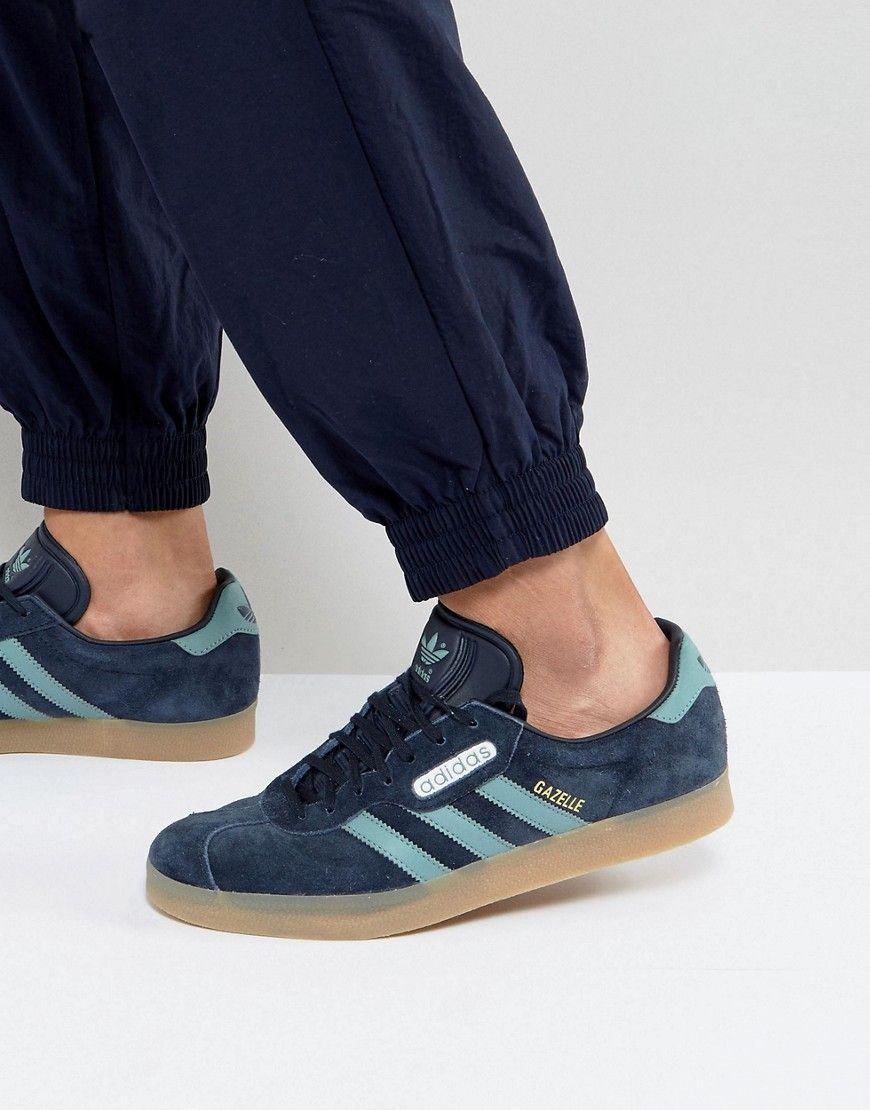 Adidas originali gazzella super scarpe da ginnastica in blu cg3275 blu