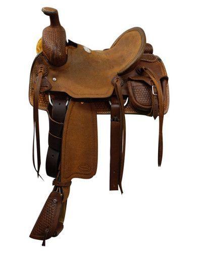 Showman Youth Saddle With Basket Weave Tooling 51212h Roping Saddles Saddles Saddle