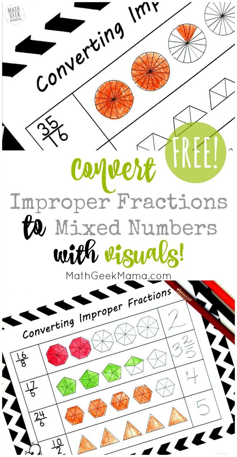 Help Kids Make Sense Of Improper Fractions Free Coloring Pages Improper Fractions Fractions Worksheets Fractions Anchor Chart