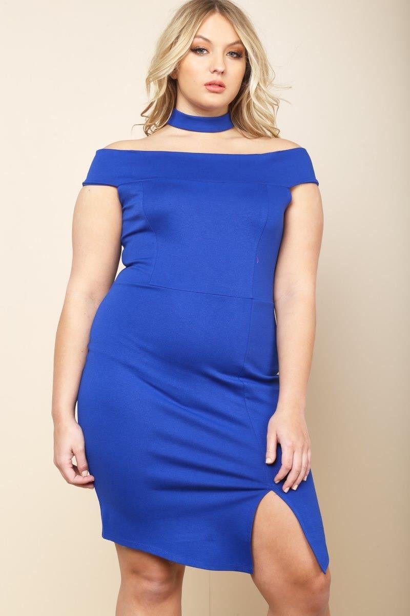 Plus Size Zippered Halter Back Bodycon Dress Royal Blue Dresses