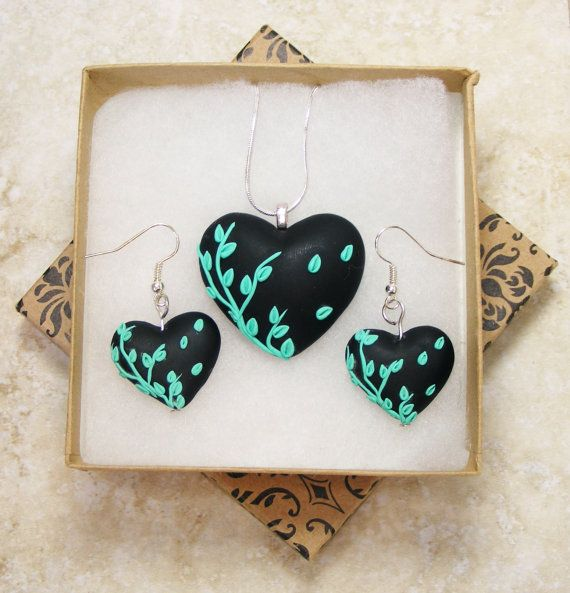 Polymer Clay Heart Floral Flower Applique Jewelry Necklace and Earring Set