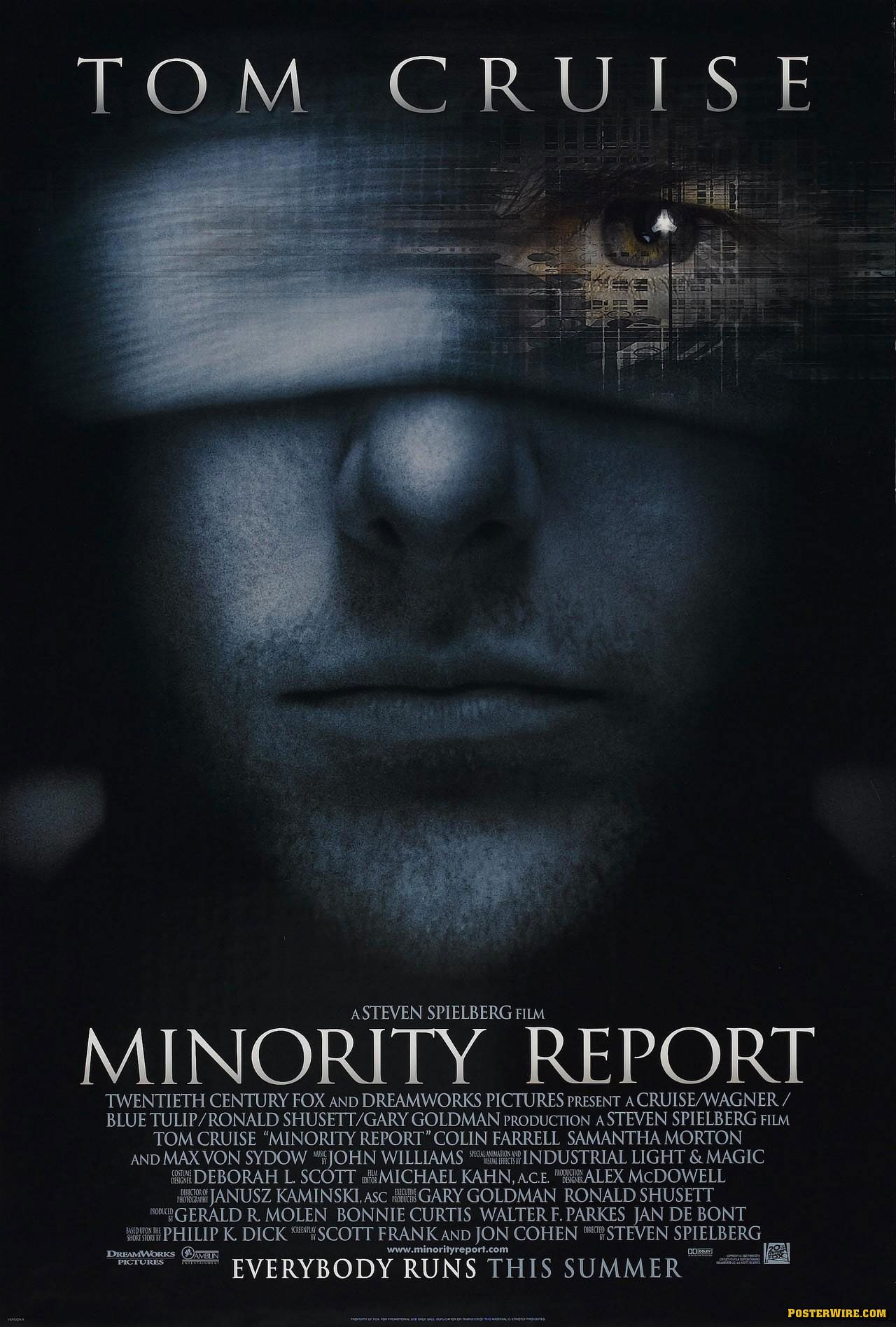 High resolution official theatrical movie poster ( of for Minority Report  Image dimensions: 1992 x Directed by Steven Spielberg.