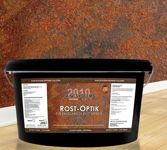 Wandfarbe Mit Effekt: Rostoptik Wandfarbe-Rosteffekt 2 X 2,0 Liter+ Effektbürste