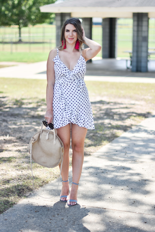 10 fun facts about me and a $15 polka dot wrap dress | Wrap
