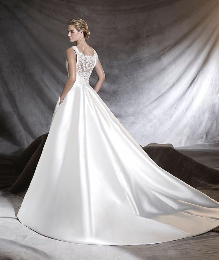 Mikado Wedding Gown: Wedding Dress With Bateau Neckline In Mikado