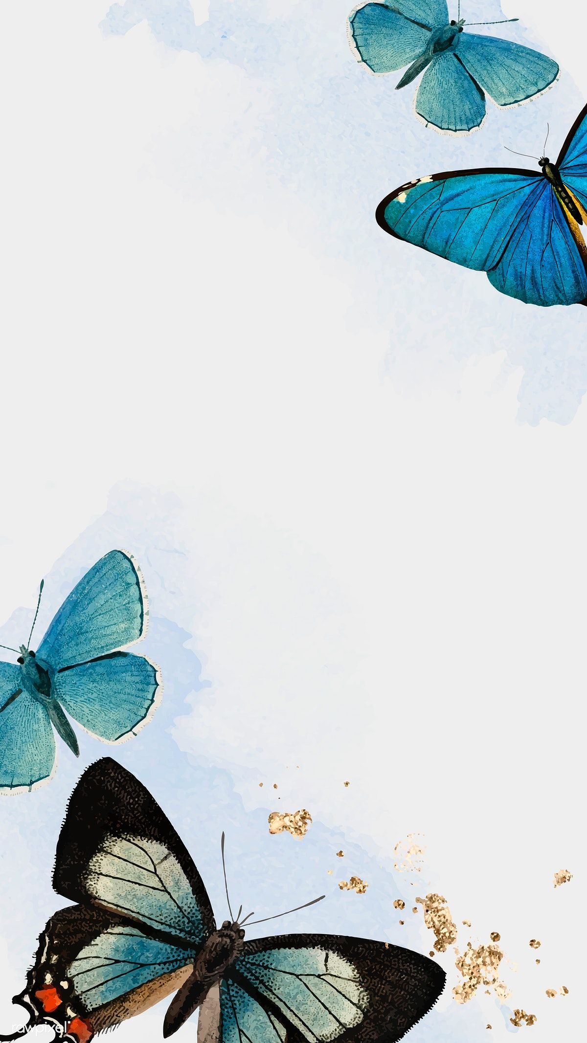 Download premium vector of Blue butterflies patterned mobile phone wallpaper vector by Kul about butterfly background, vintage butterfly, background, butterfly, and Butterflies watercolor 1222326