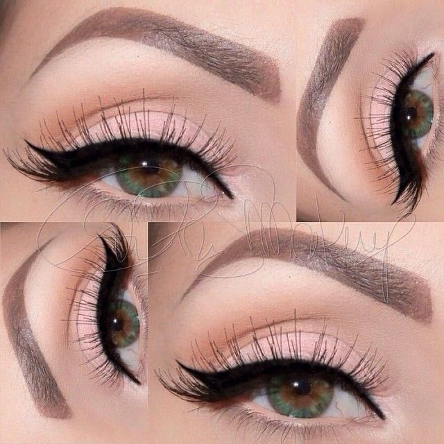 Soft pink winged eye liner look by caprisssmakeup. @anastasiabeverlyhills Lavish Palette & @motivescosmetics Little Black Dress Gel liner & 110 lashes.