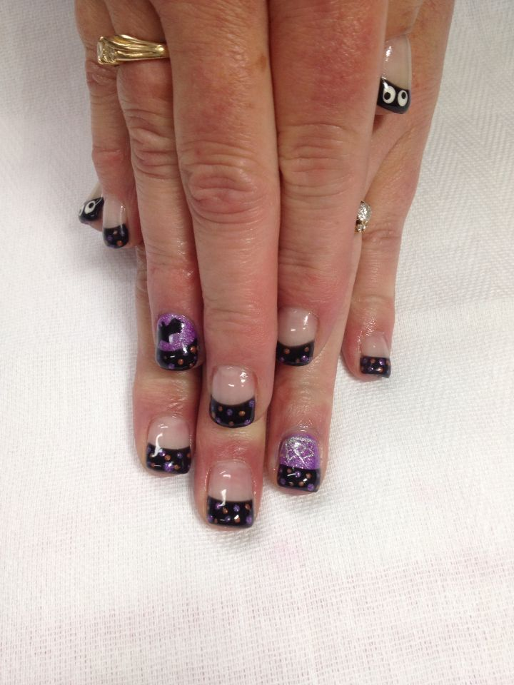 Awesome Purple And Black Halloween French Gel Nails Accented With Oogle Eyes S Spider Web A Bat All Done With Non Toxic An Nails Gel Nails Acrylic Nail Art