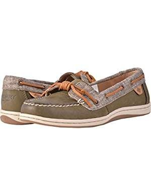 SPERRY Womens, Barrelfish Boat Shoes Dark Olive 9