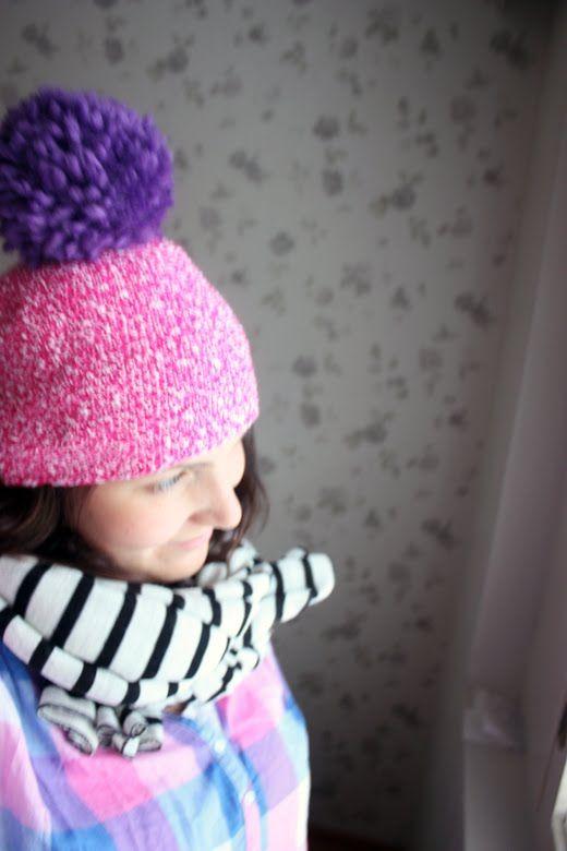 Pink Hat with Purple Pom Pom #inspiration