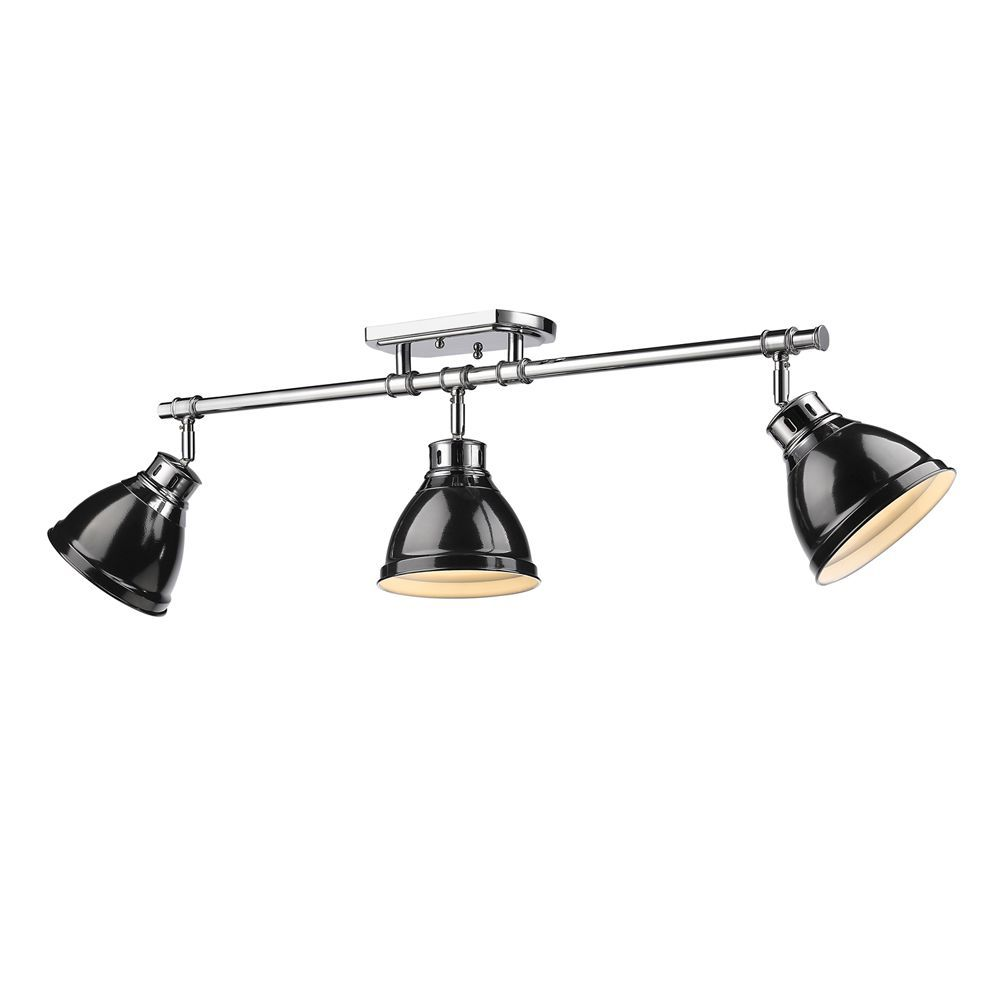 Golden Lighting 3602-3SF CH-BK Duncan 3 Light Semi-Flush Mount-Track Light In Chrome with Black Shades is made by the brand Golden Lighting and is a member of the Duncan collection. It has a part number of 3602-3SF CH-BK.