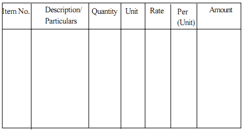 Abstract Of Estimate Form  Engineering