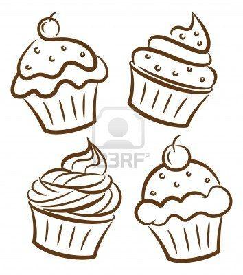 Stock Photo Scuola Disegno Cupcake Cupcake E Cupcake