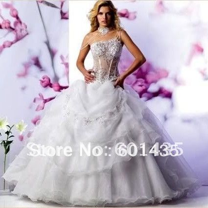 Free shipping wr2029 sexy one shoulder sweetheart see for See through corset wedding dresses