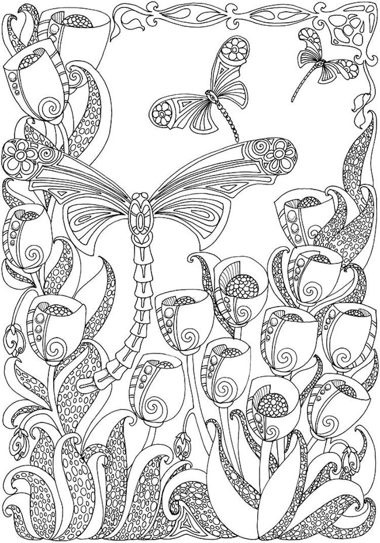 Dover Creative Haven Entangled Dragonflies Coloring Page 2 Butterfly Coloring Page Coloring Pages Animal Coloring Pages