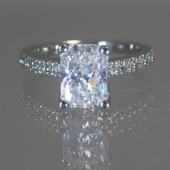 Amazing  CTW Multi Stone Radiant Cut Diamond Engagement Ring in K White Gold
