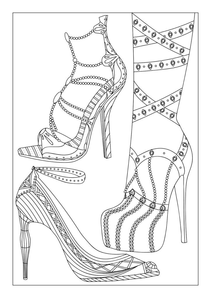 Pin by Tabatha Rogers on Shoes for coloring | Adult ...