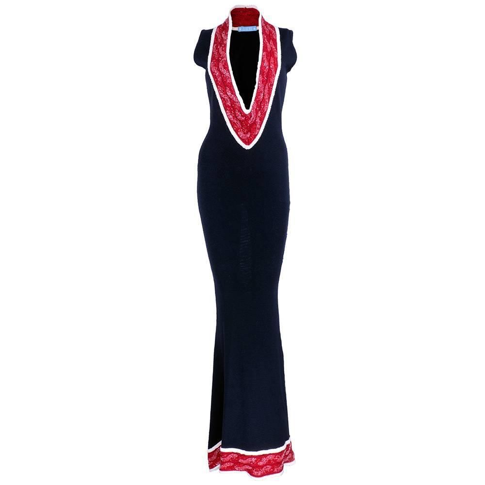 Zang toi s red white and black knit gown see more vintage